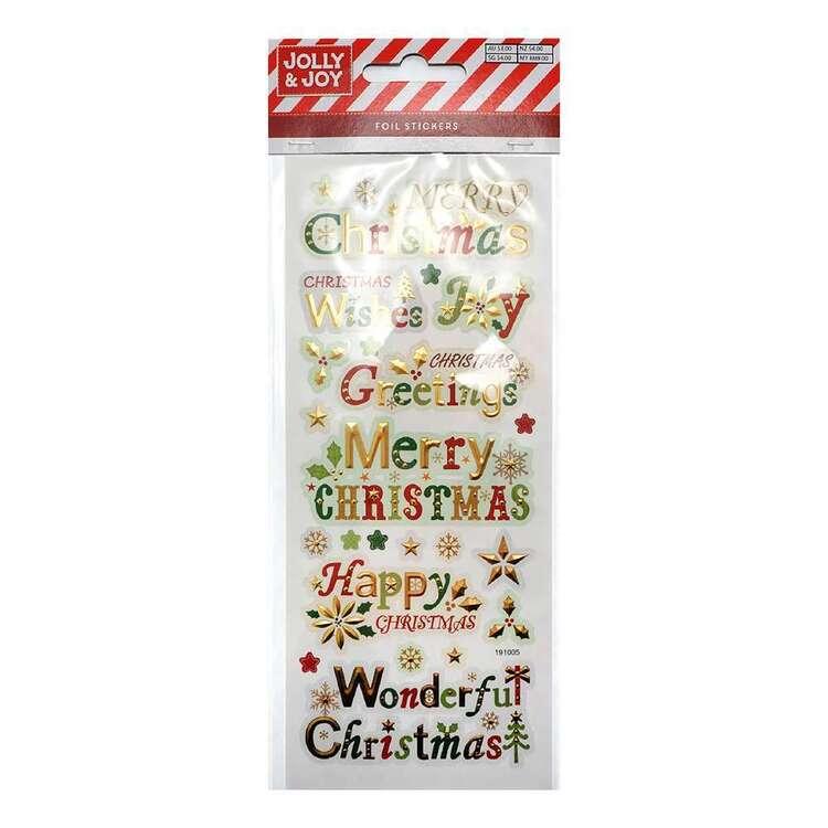 Jolly & Joy Merry Christmas Foil Stickers