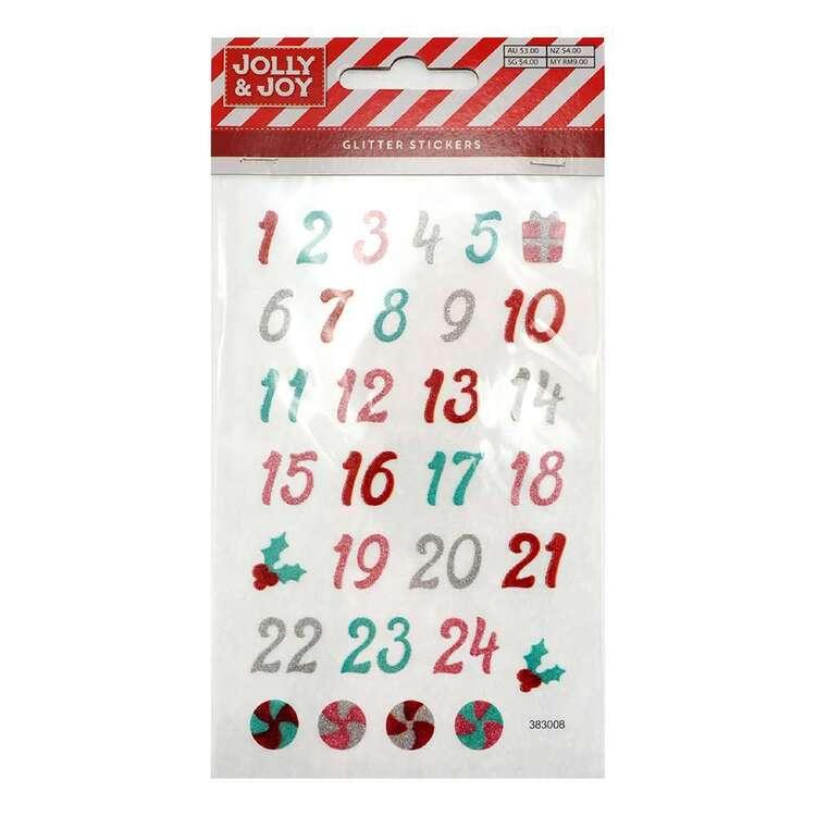 Jolly & Joy Christmas Date Glitter Stickers