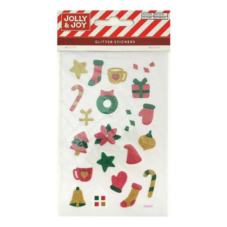 Jolly & Joy Christmas Candy Stocking Glitter Stickers