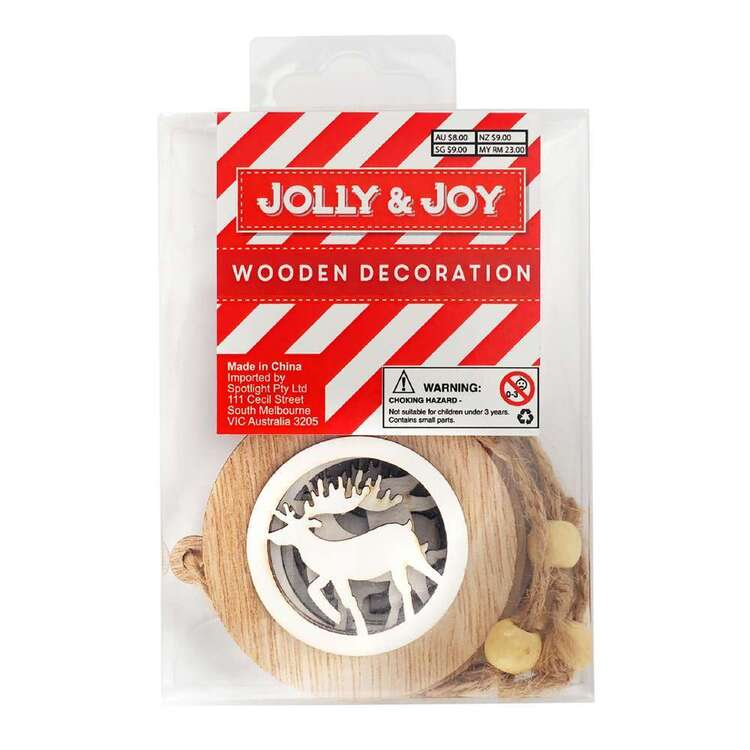Jolly & Joy Reindeer Bauble Wooden Decoration 4 Pack