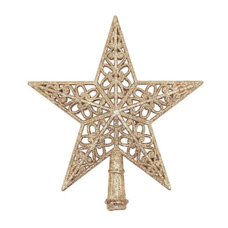 Jolly & Joy Glitter Star Tree Topper Rose Gold