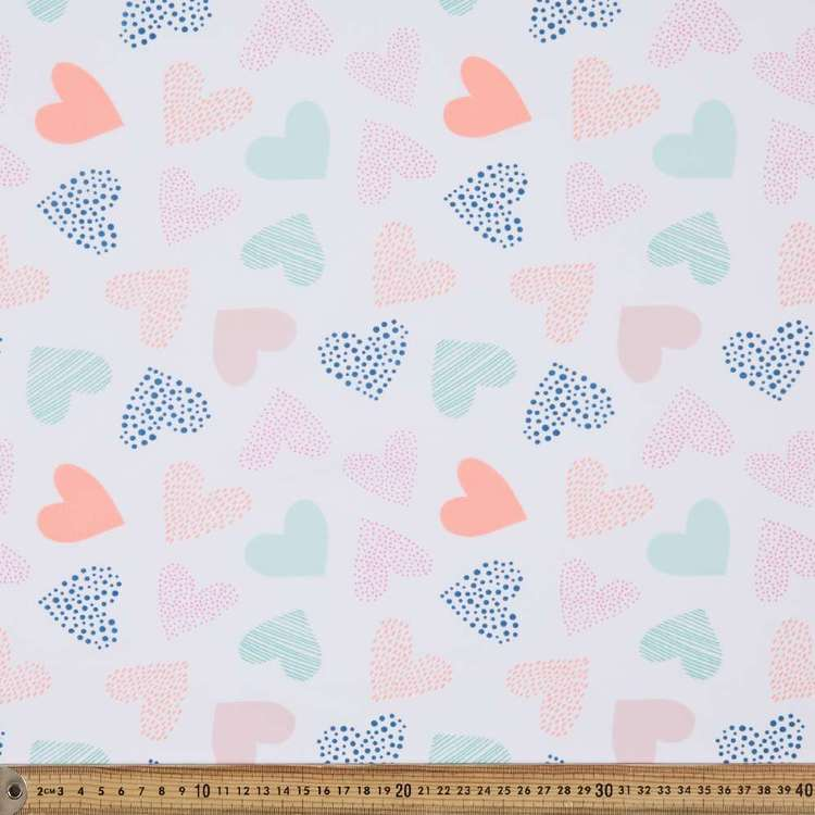 Hearts Printed 112 cm Mix N Match Poly Cotton Fabric
