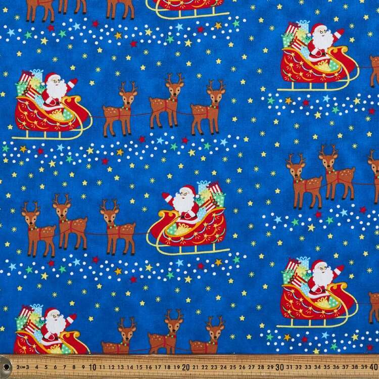 Sugar & Spice Santa Sleigh Cotton Fabric