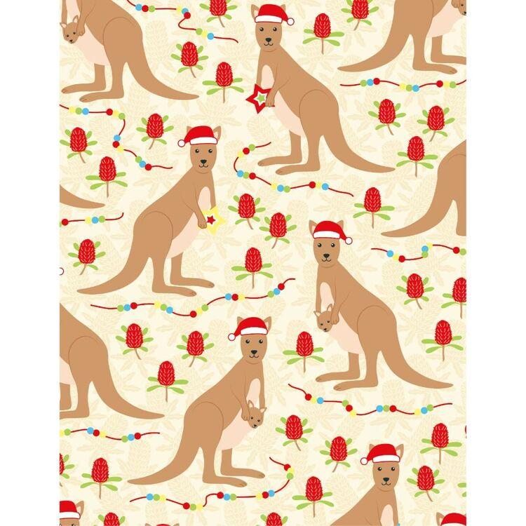 Sugar & Spice Aussie Kangaroo Christmas Fabric