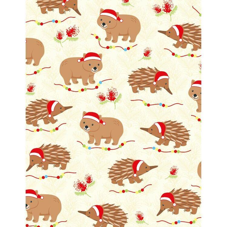 Sugar & Spice Aussie Wombat Echidna Christmas Fabric