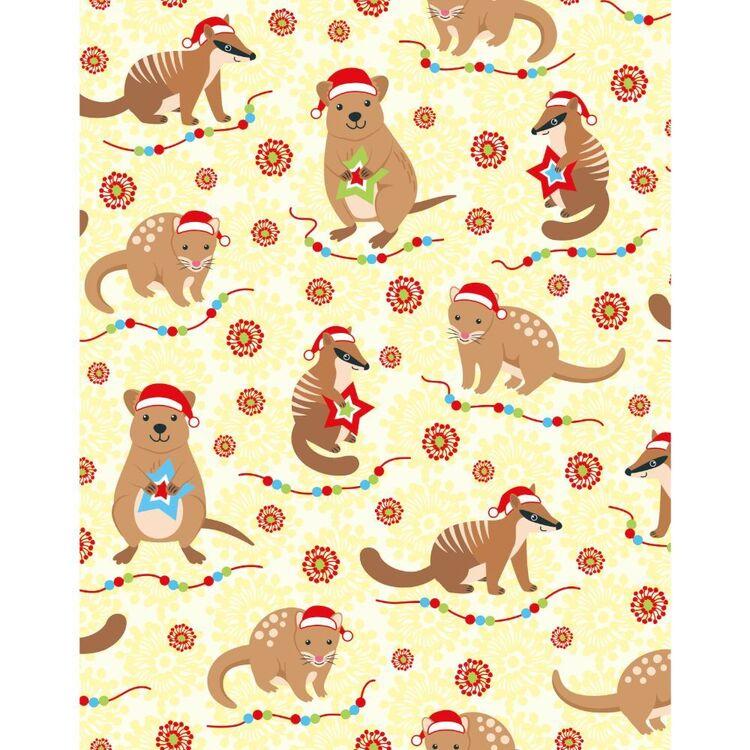 Sugar & Spice Aussie Numbat Quokka Christmas Fabric
