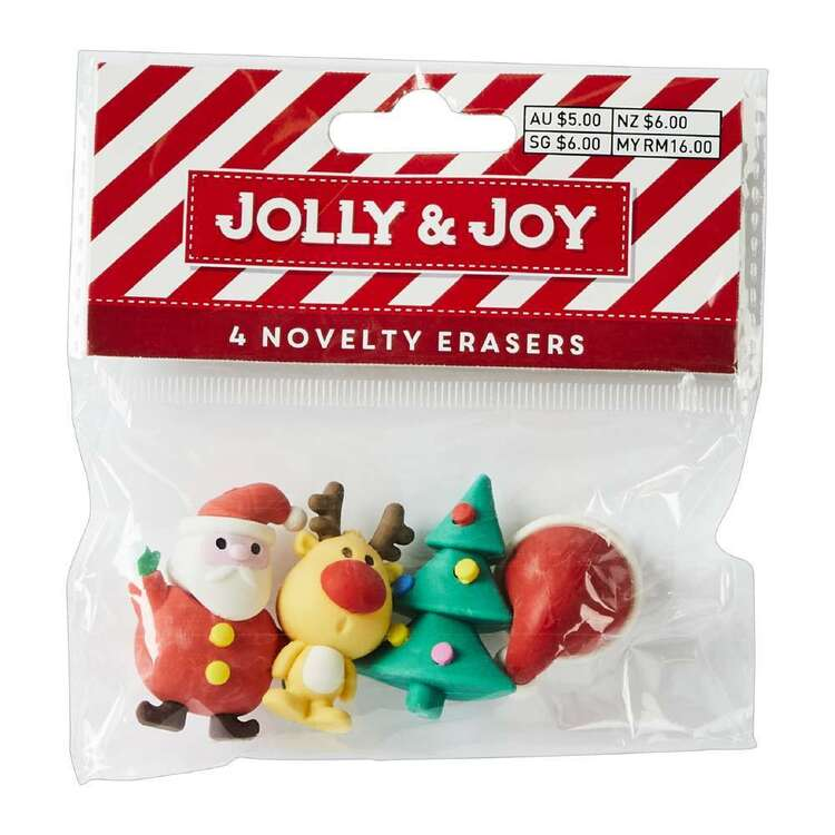 Jolly & Joy Novelty Erasers 4 Pack