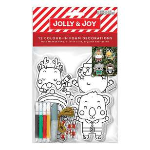 Jolly & Joy Colour-In Foam Decorations 12 Pack