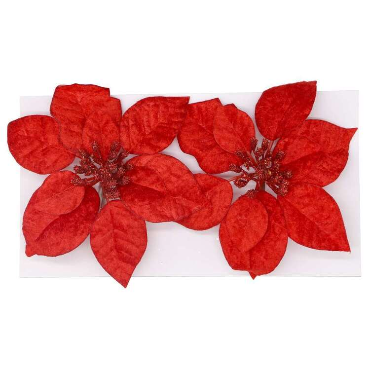 Jolly & Joy Fabric Poinsettia 2 Pack