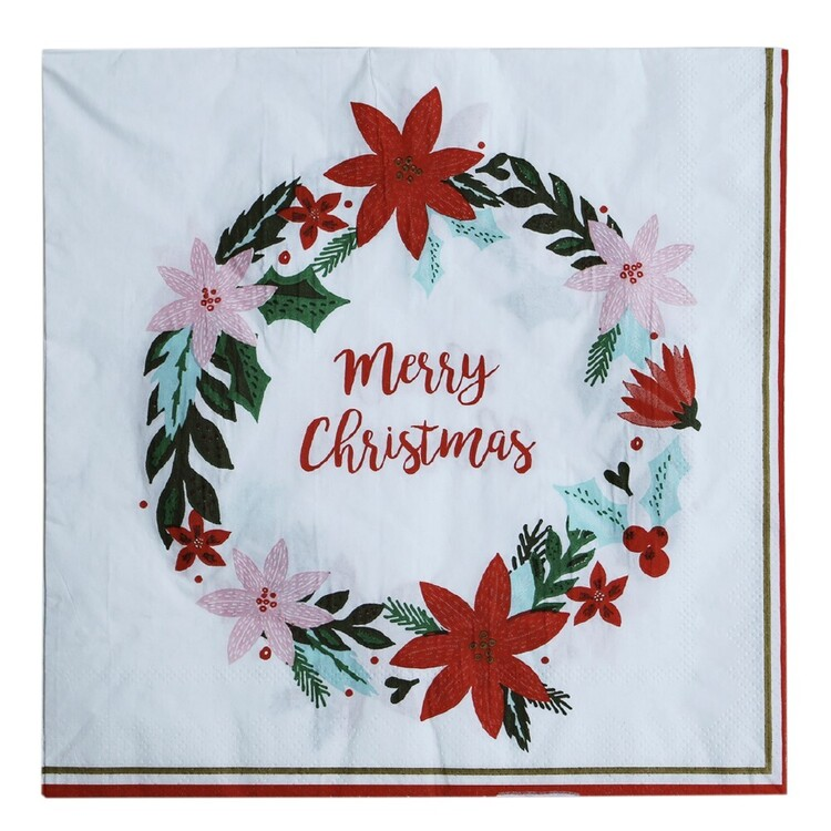 Jolly & Joy Poinsettia Paper Napkin 25 Pack