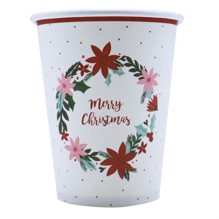 Jolly & Joy Poinsettia Paper Cups 10 Pack