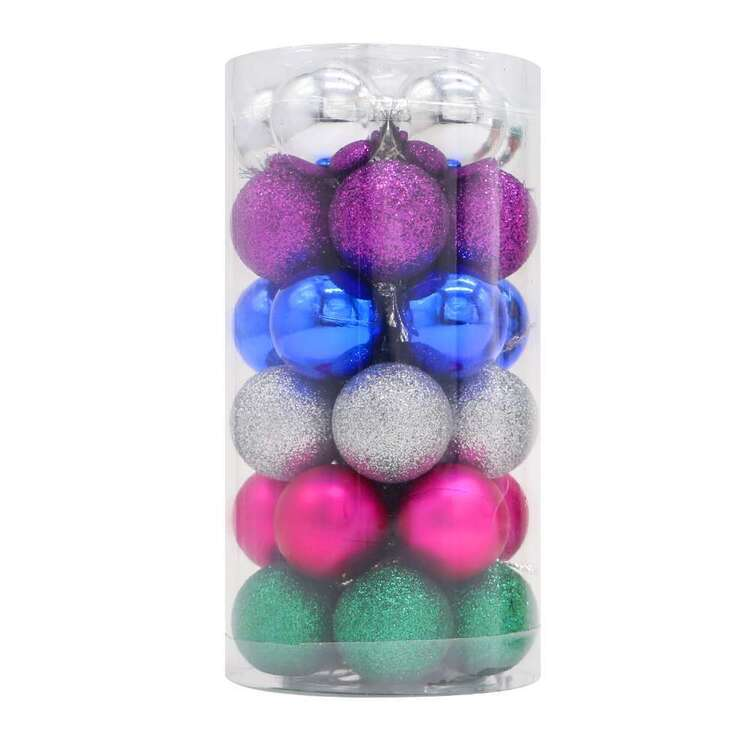 Jolly & Joy Neon Mini Baubles 30 Pack