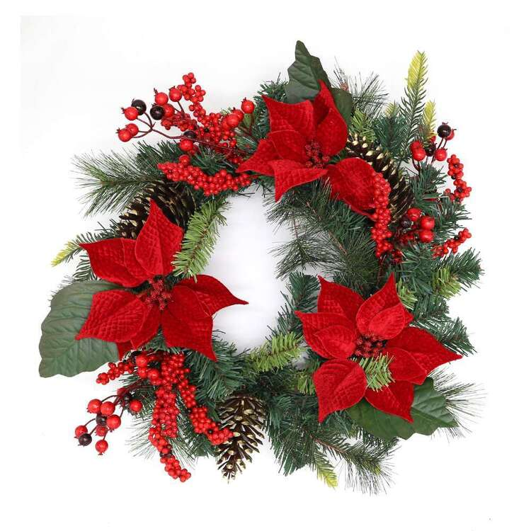 Jolly & Joy Poinsettia Wreath
