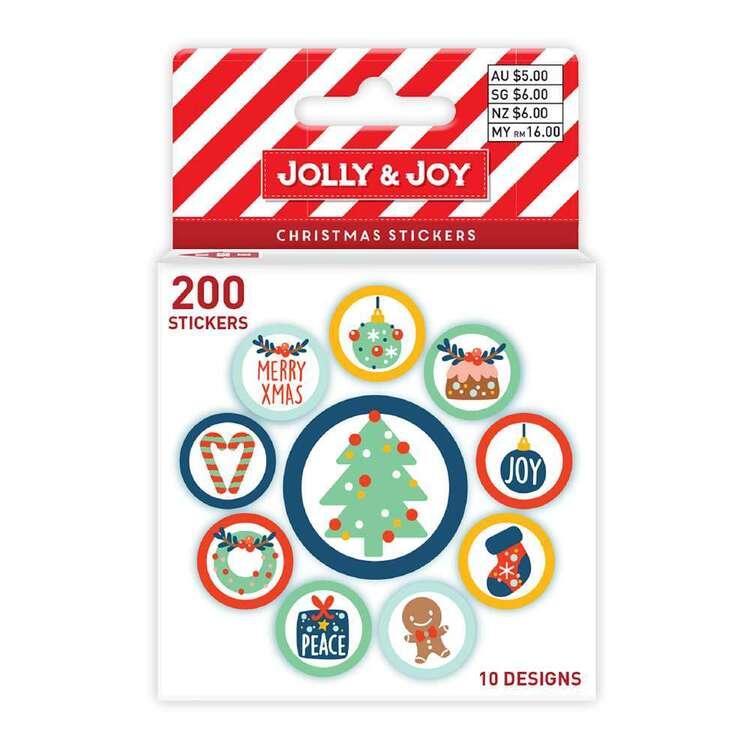 Jolly & Joy Christmas Sticker Roll 200 Pack