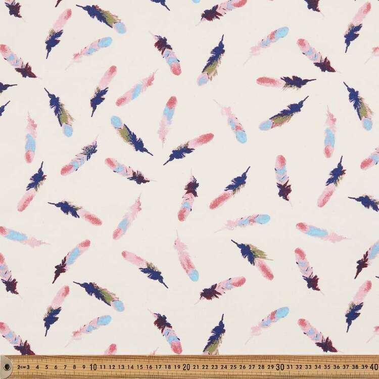 Feathers Printed 112 cm Buzoku Duck Fabric
