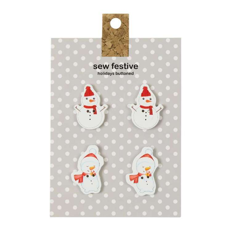 Carded Buttons Snowman # 1