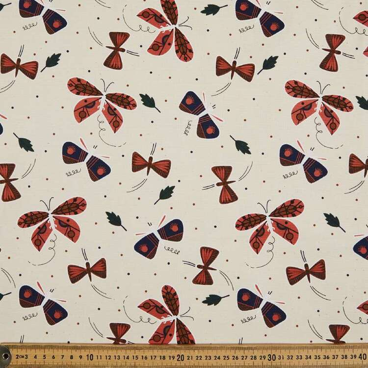 Cloud 9 Butterfly Printed Organic Canvas 112 cm Fabric