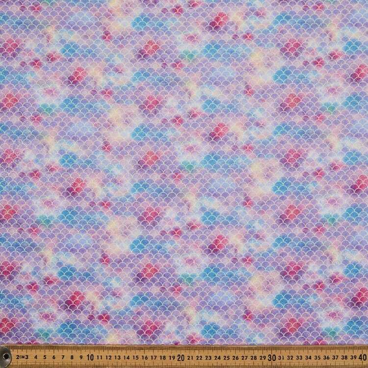 Glitter Scales Printed 112 cm Cotton Poplin Fabric