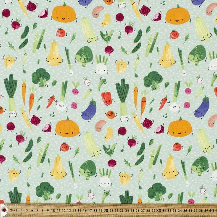 Happy Veg Printed 112 cm Organic Cotton Jersey Fabric