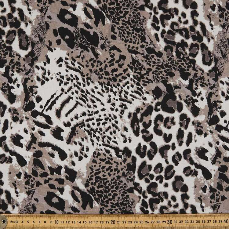 Leopard Printed 148 cm Brushed Double Knit Fabric