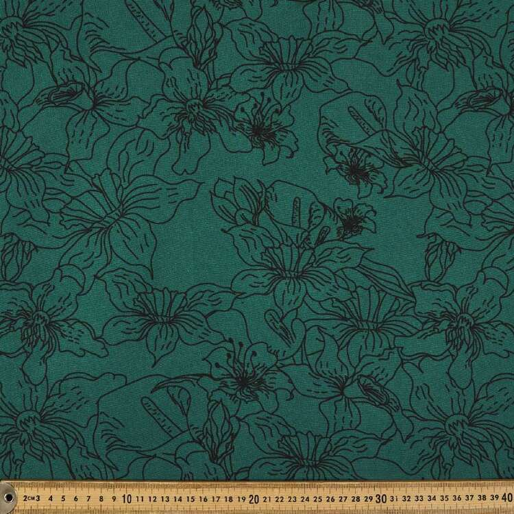 Floral Printed 148 cm Brushed Double Knit Fabric