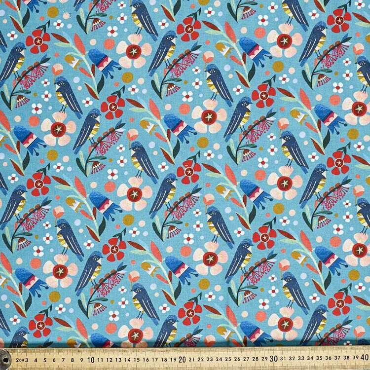 Andrea Smith Floral Bird Cotton Fabric