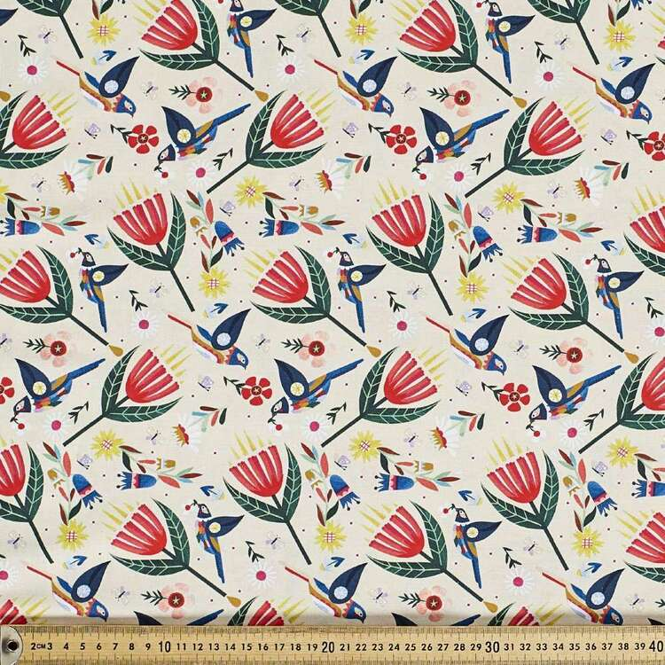 Andrea Smith Wattle Birds & Flowers Cotton Fabric