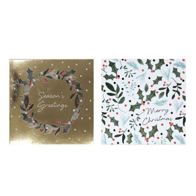 Jolly & Joy Wreath Cards 12 Pack Multicoloured 12 x 12 cm