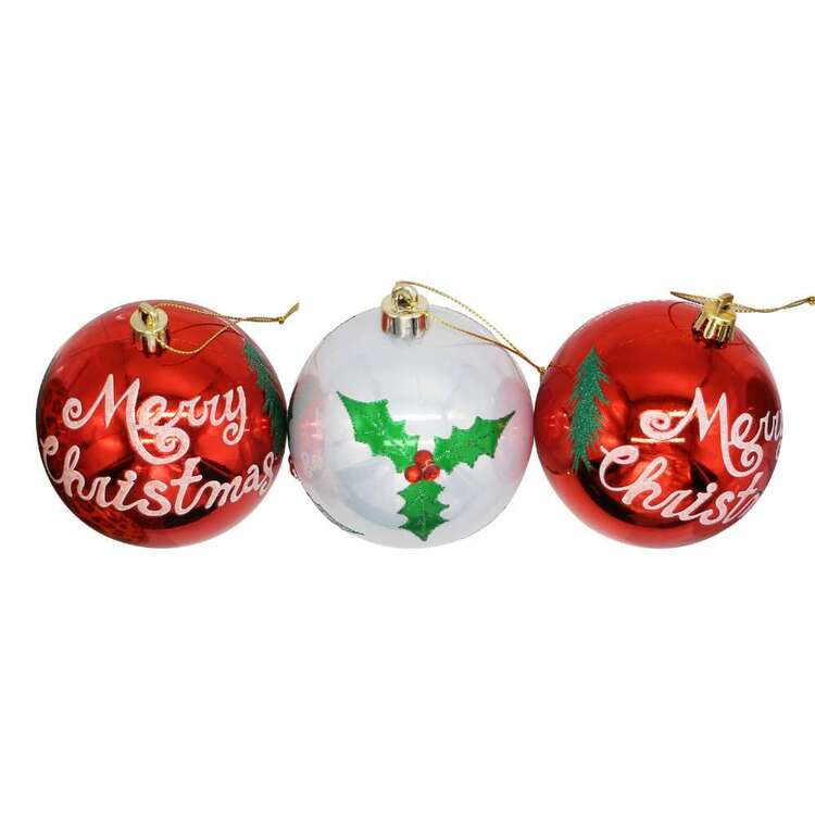 Jolly & Joy Merry Christmas Baubles 3 Pack
