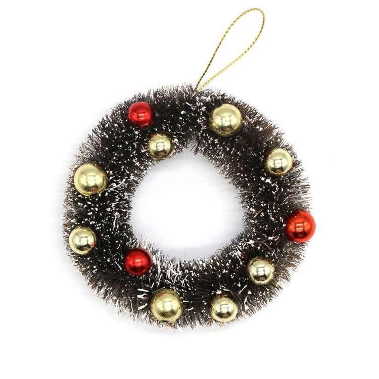 Jolly & Joy Bristle Wreath With Baubles 2 Pack