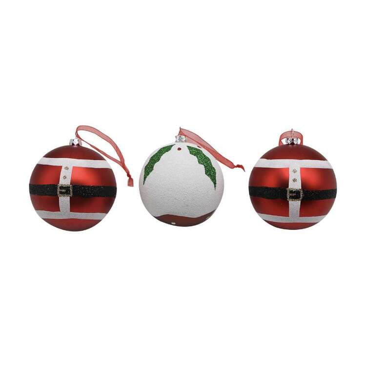 Jolly & Joy Matte Santa Baubles 3 Pack