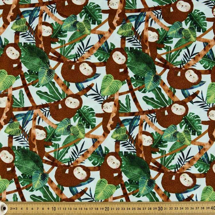 Restful Sloth Printed Cotton Poplin Fabric