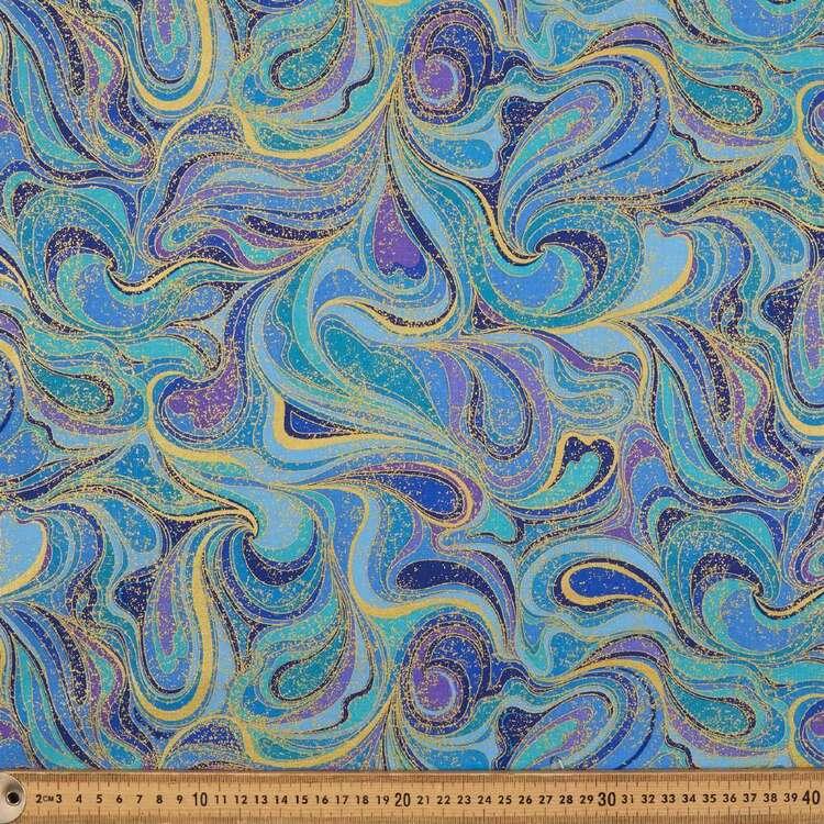 Peacock Perfection Metallic Swirls Cotton Fabric