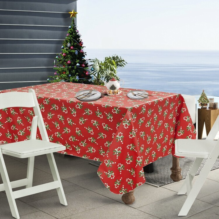 Living Space Festive Candy Printed Flannel Back Table Cloth
