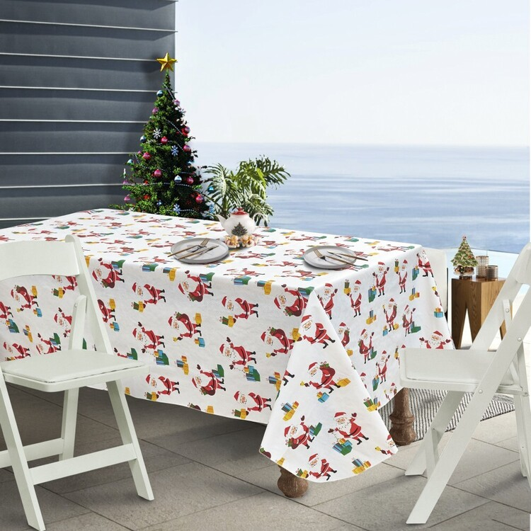Living Space Festive Merry Printed Flannel Back Table Cloth