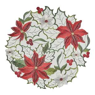 Living Space Festive Belles Embroidered Round Placemat