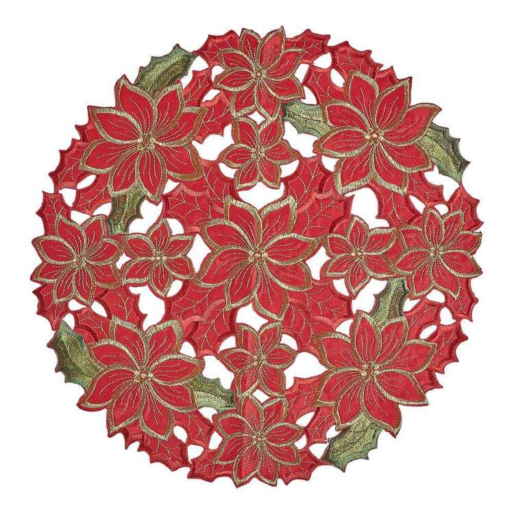 Living Space Festive Joyous Embroidered Round Placemat
