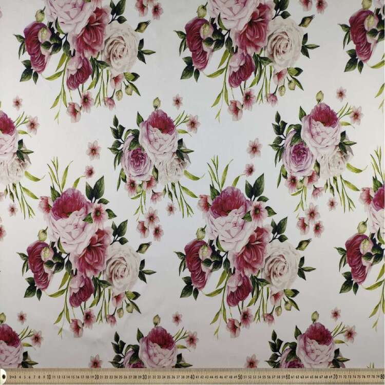 Pink Posy Digital Printed 127 cm Sateen Fabric