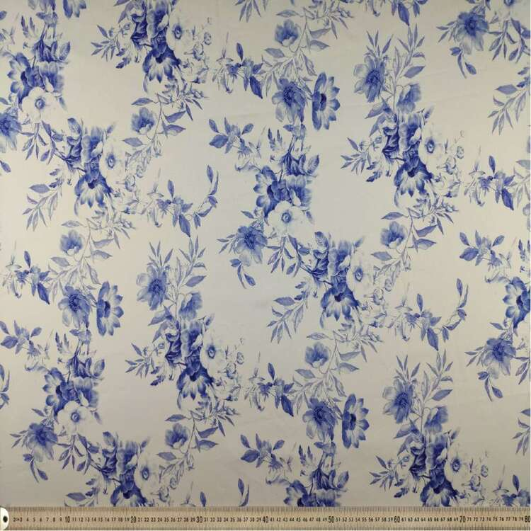 Blue China Digital Printed 127 cm Sateen Fabric