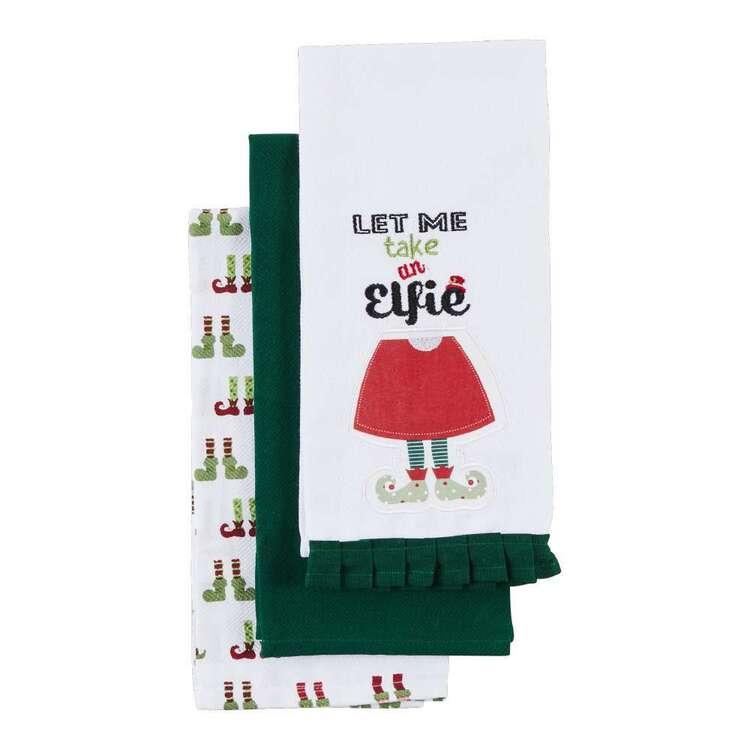 Living Space Festive Elfie Tea Towel 3 Pack