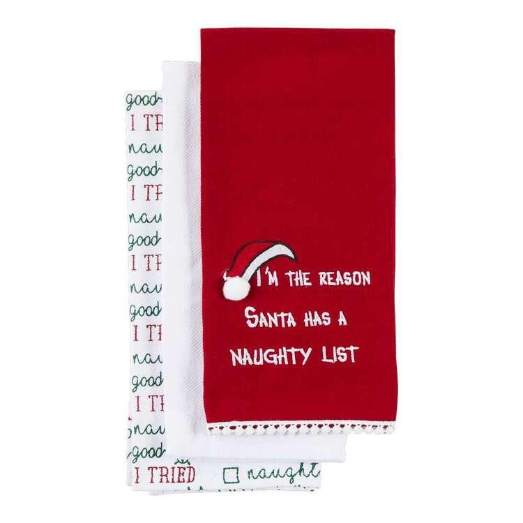 Living Space Festive Santa List Tea Towel 3 Pack