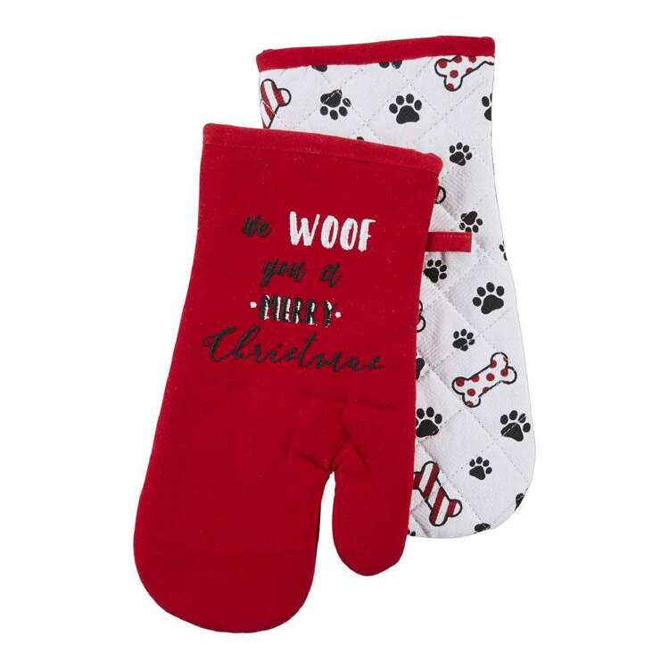 Living Space Festive Woof Printed Oven Glove 2 Pack