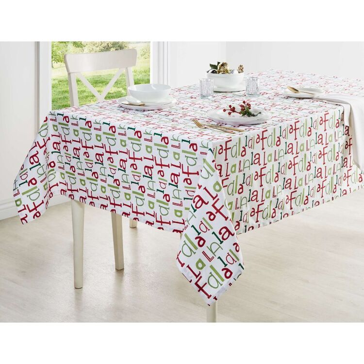 Living Space Festive Fa La La Printed Tablecloth