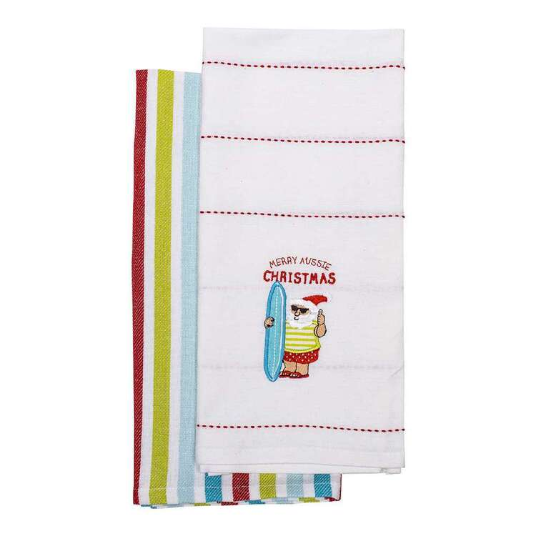 Christmas By Ladelle Surfin 2 Pack Tea Towel