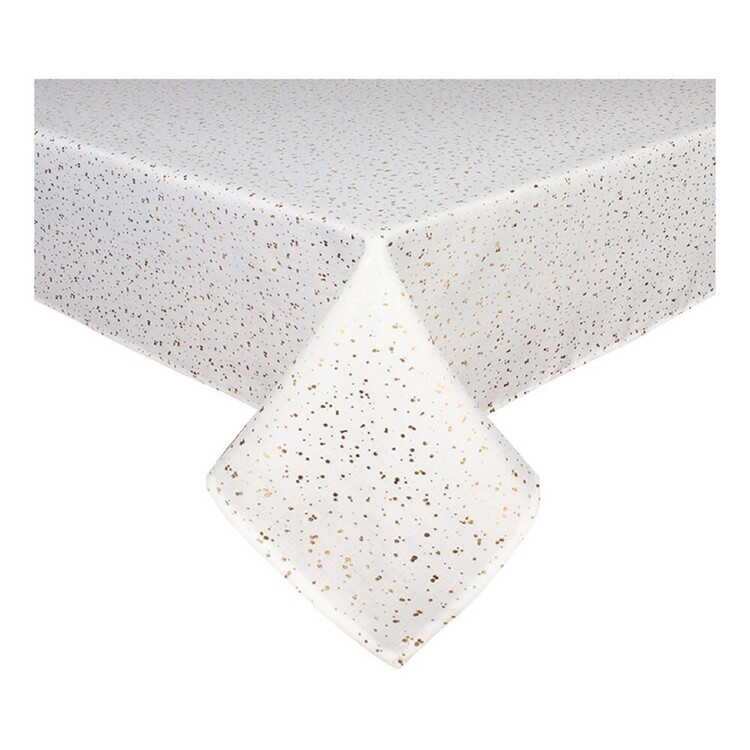 Christmas By Ladelle Dazzler White & Gold Tablecloth