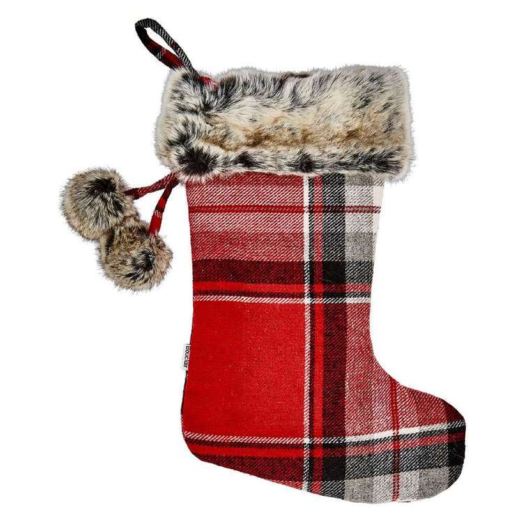 Bouclair Nordic Tradition Plaid Stocking Red 26 x 41 cm