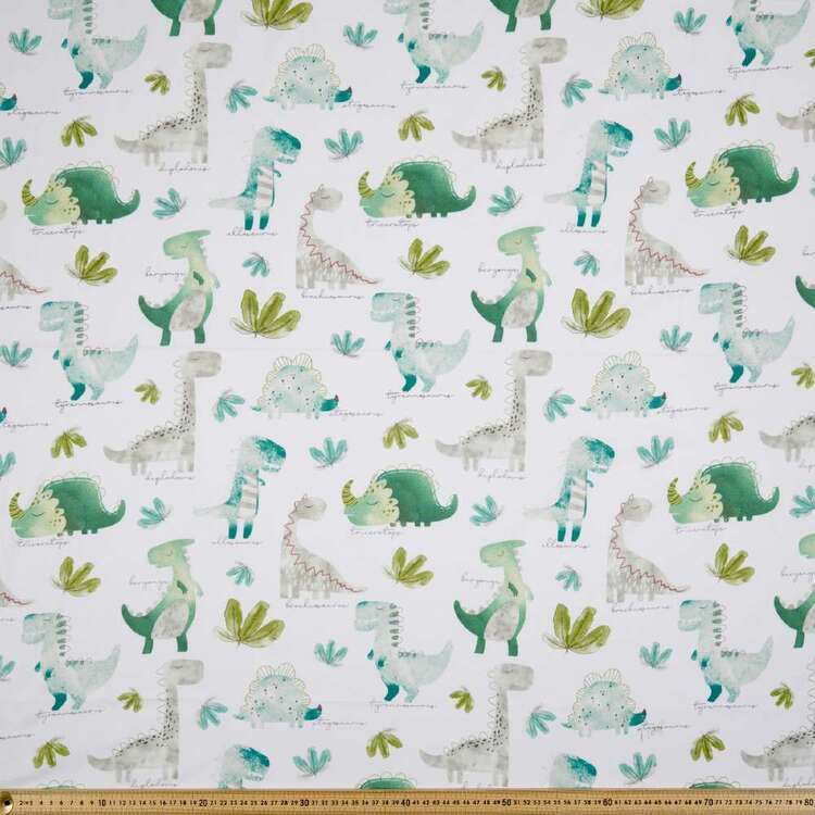 Dino Jungle Printed 112 cm Organic Cotton Jersey