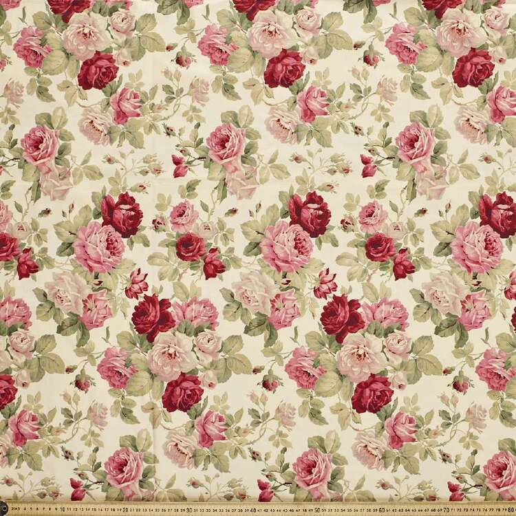 Anastasia Large Roses Cotton Fabric