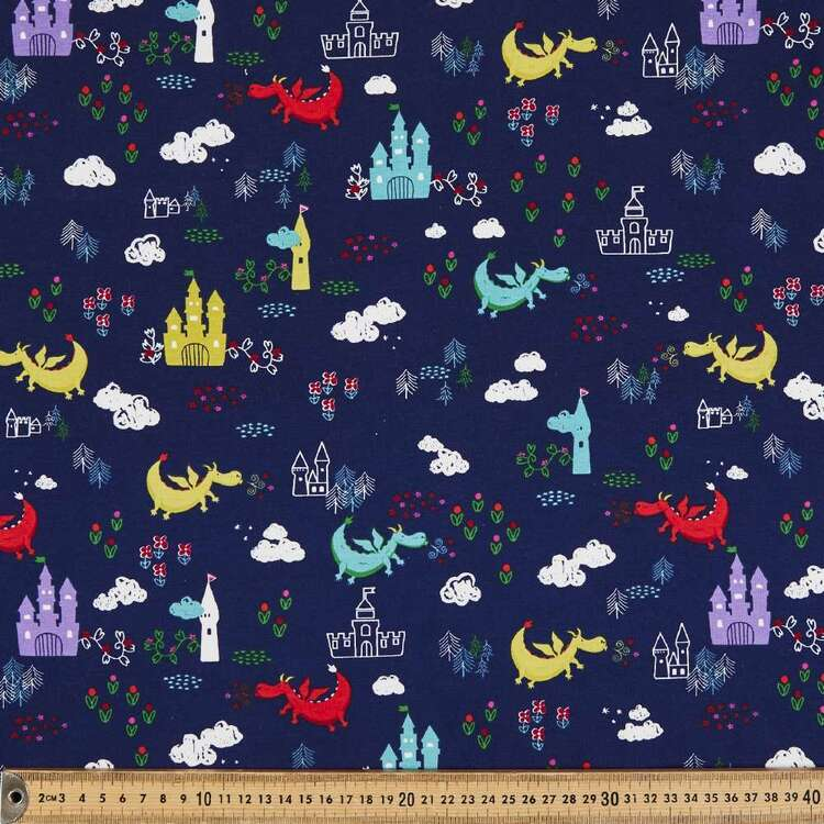 Dragons & Cats Printed 148 cm Cotton Spandex Jersey Fabric