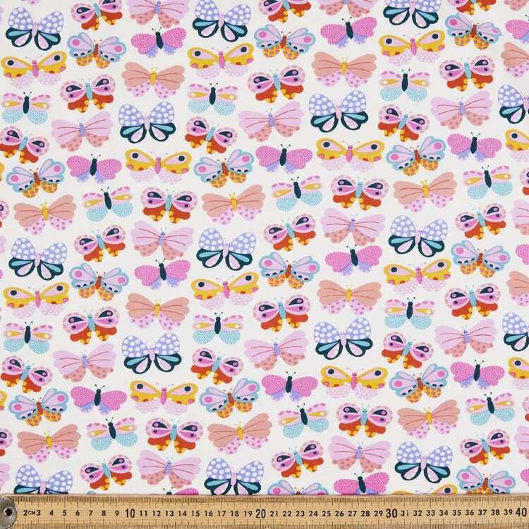 Butterfly Printed 148 cm Cotton Spandex Jersey Fabric
